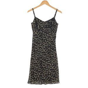 ANN TAYLOR | Brown Silk Animal Print Dress